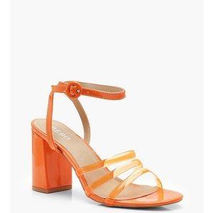 Neon Orange Block Heel